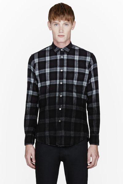 Public school black flannel degraded plaid shirt in black for Black watch plaid flannel shirt