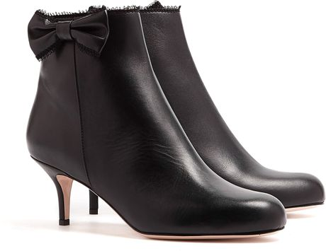 Red Valentino Leather Bow Kitten Heel Ankle Boots In Black
