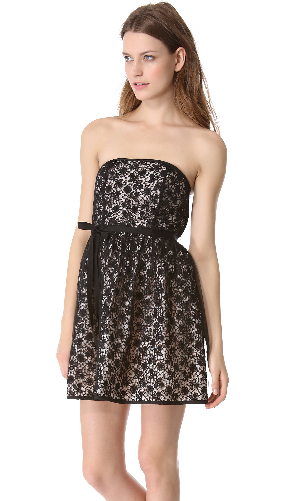Red Valentino Spring 2016: Red Valentino Strapless Lace Dress In Black