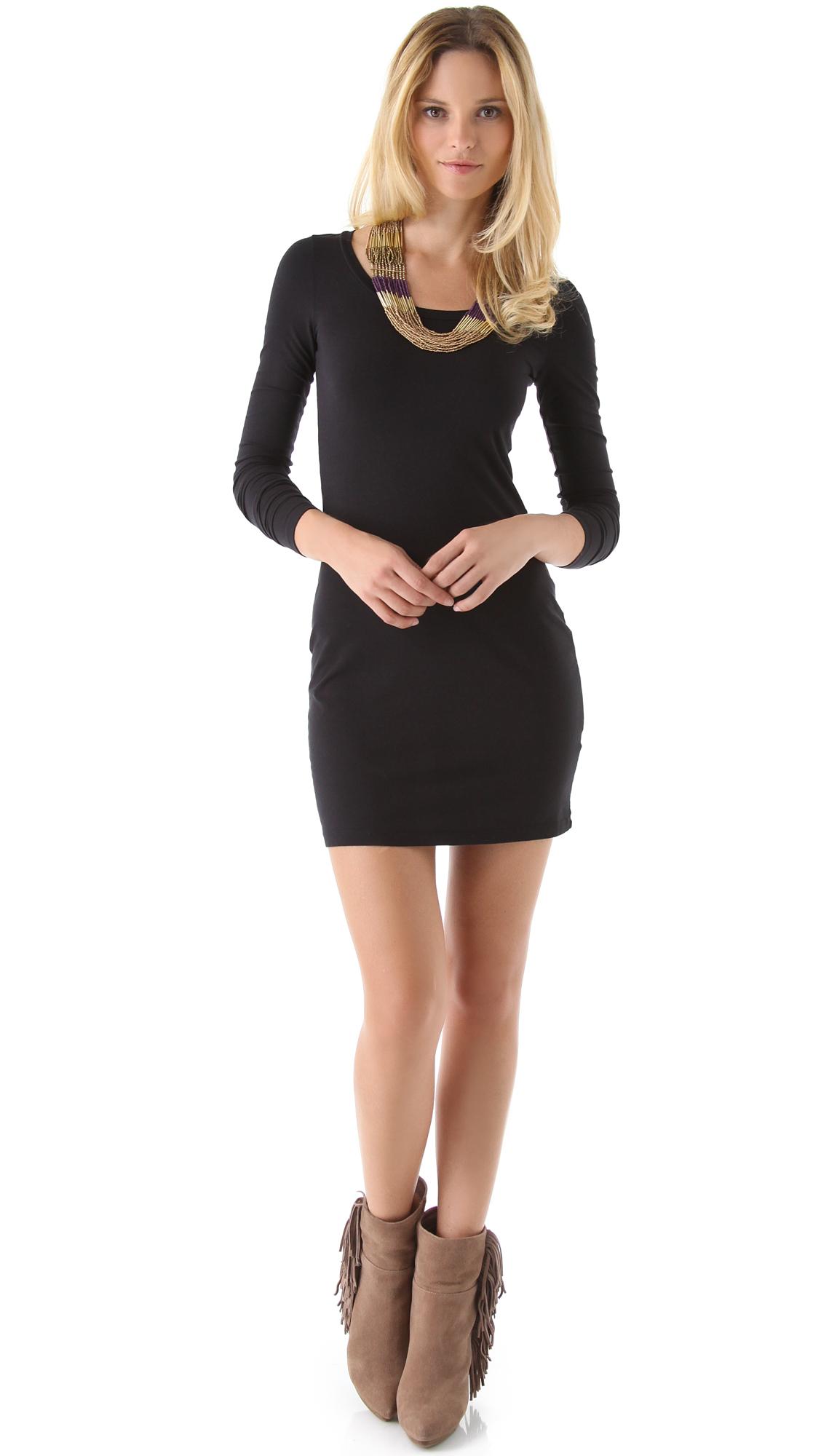 Splendid Long Sleeve Mini Dress in Black   Lyst