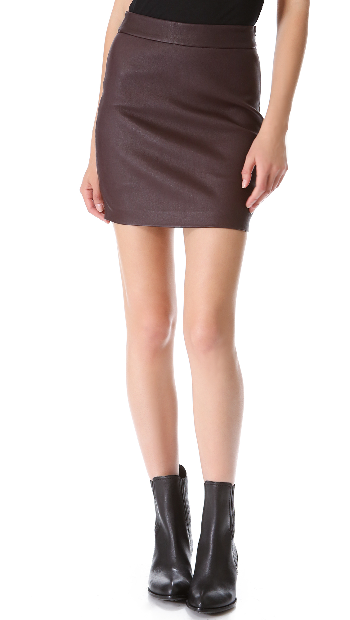 t by wang high waisted leather skirt in brown