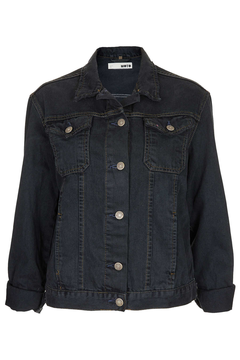 Lyst topshop moto black denim jacket in black for Womens denim shirts topshop