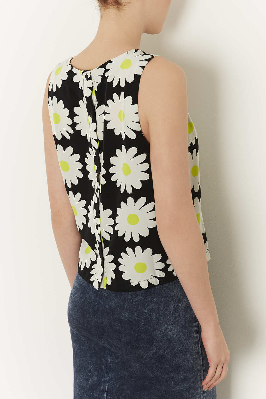 Lyst Topshop Sleeveless Daisy Print Shell Top In Black