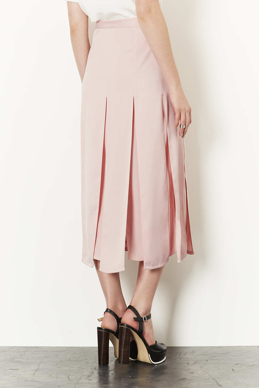 topshop spliced midi skirt in pink lyst