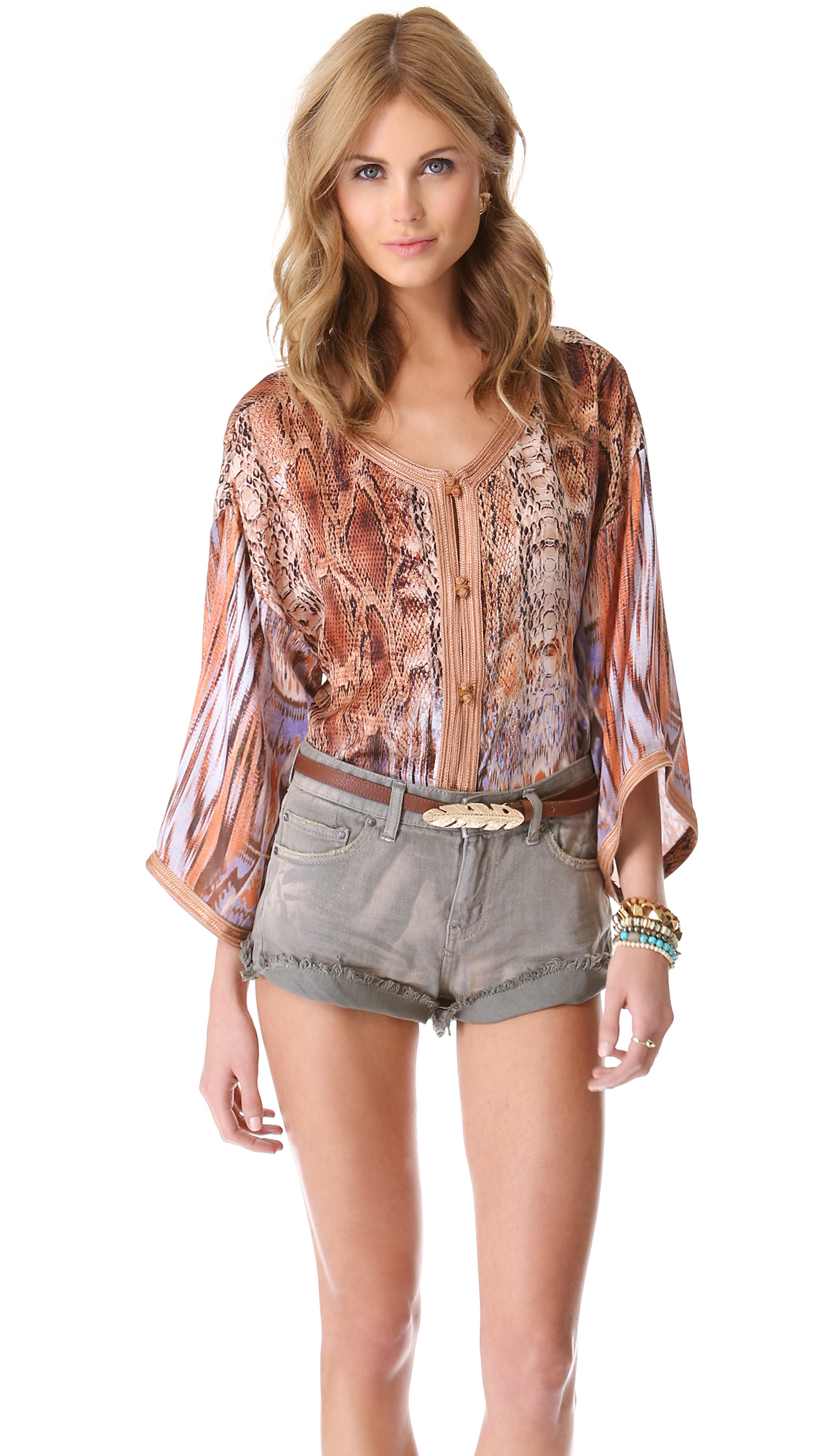 Twelfth Street Cynthia Vincent Jalaba Blouse In Brown Lyst