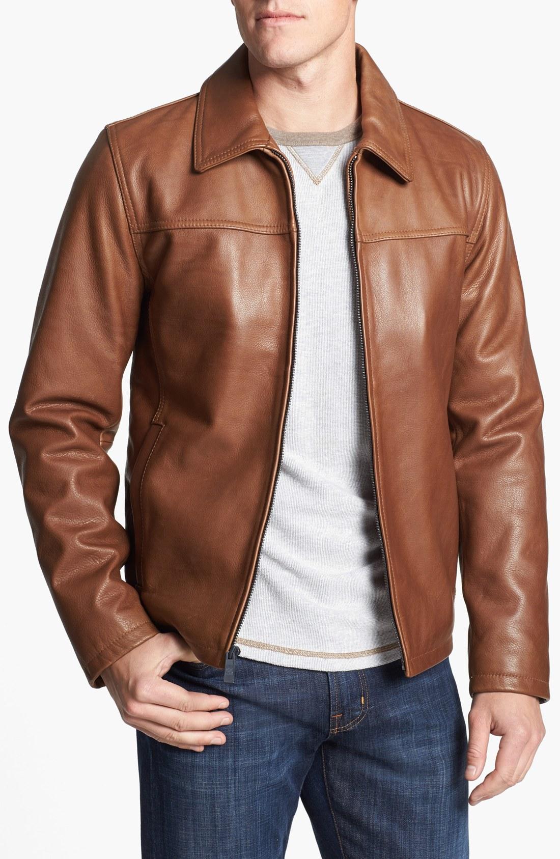 Vince Leather Jacket Mens