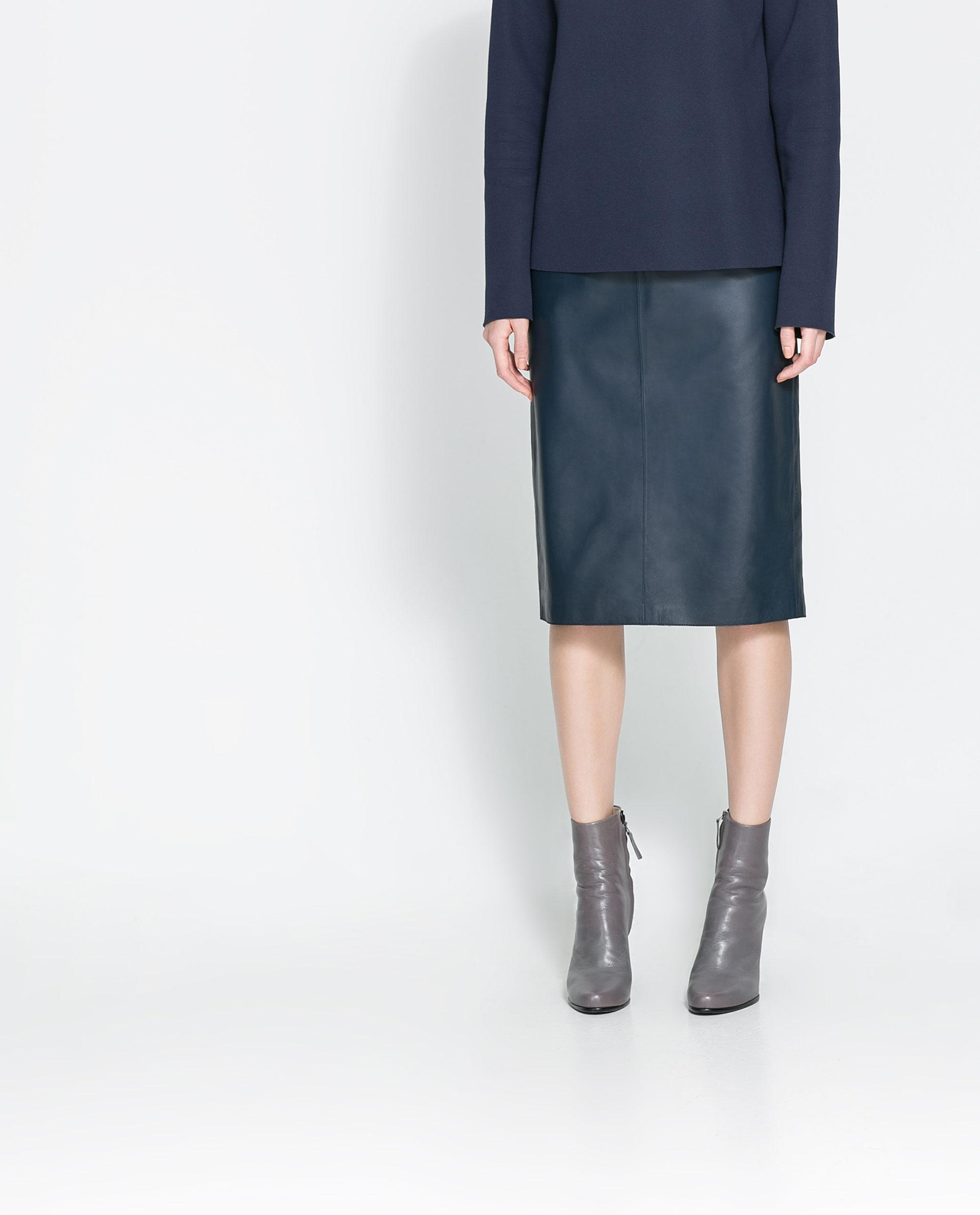 Zara Straight Leather Midi Skirt in Blue | Lyst