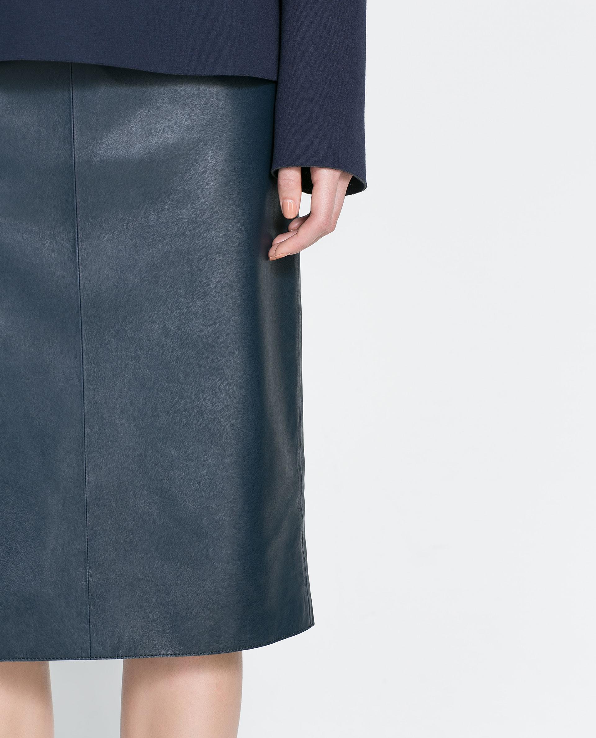 zara leather midi skirt in blue lyst