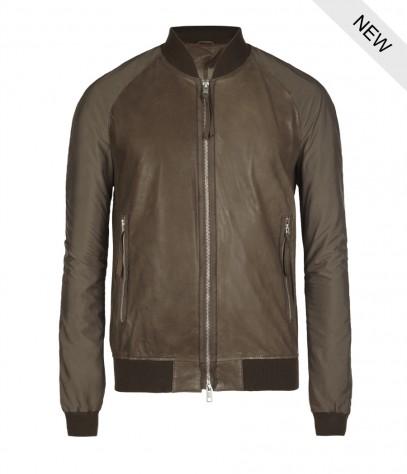Allsaints Nash Leather Bomber Jacket In Natural For Men Lyst