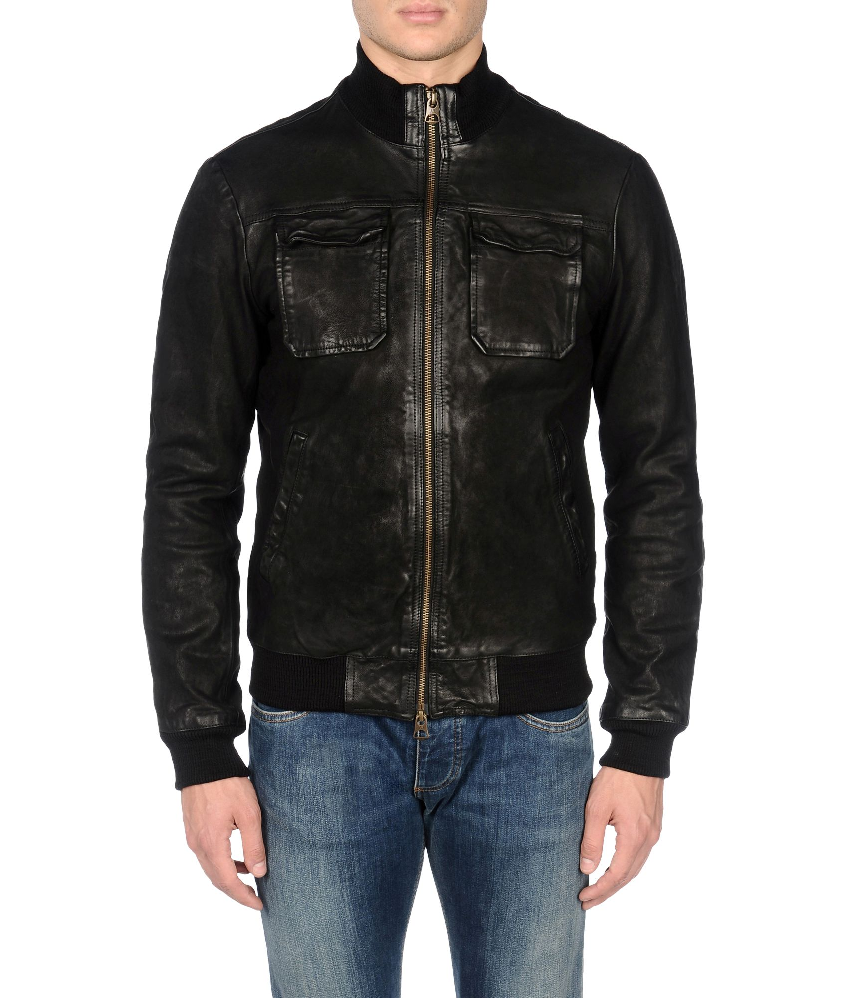 Armani jeans Leather Jacket in Black for Men | Lyst