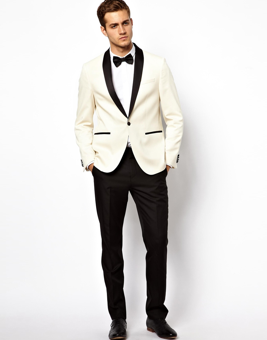 Asos Slim Tuxedo Jacket In White For Men Lyst