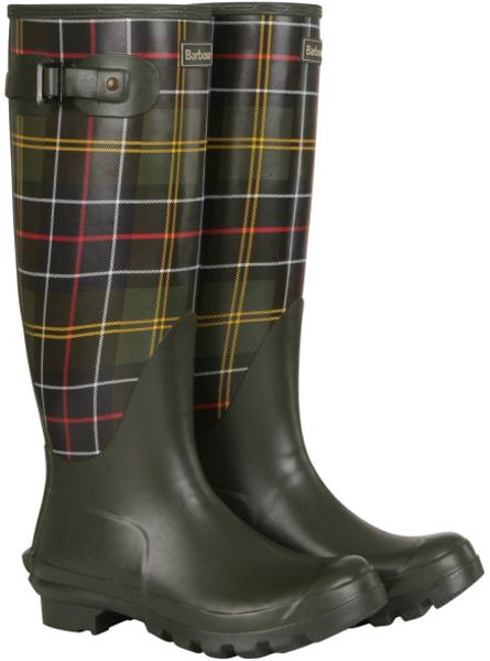 Barbour Tartan Print Wellington Boots In Green Olive Lyst