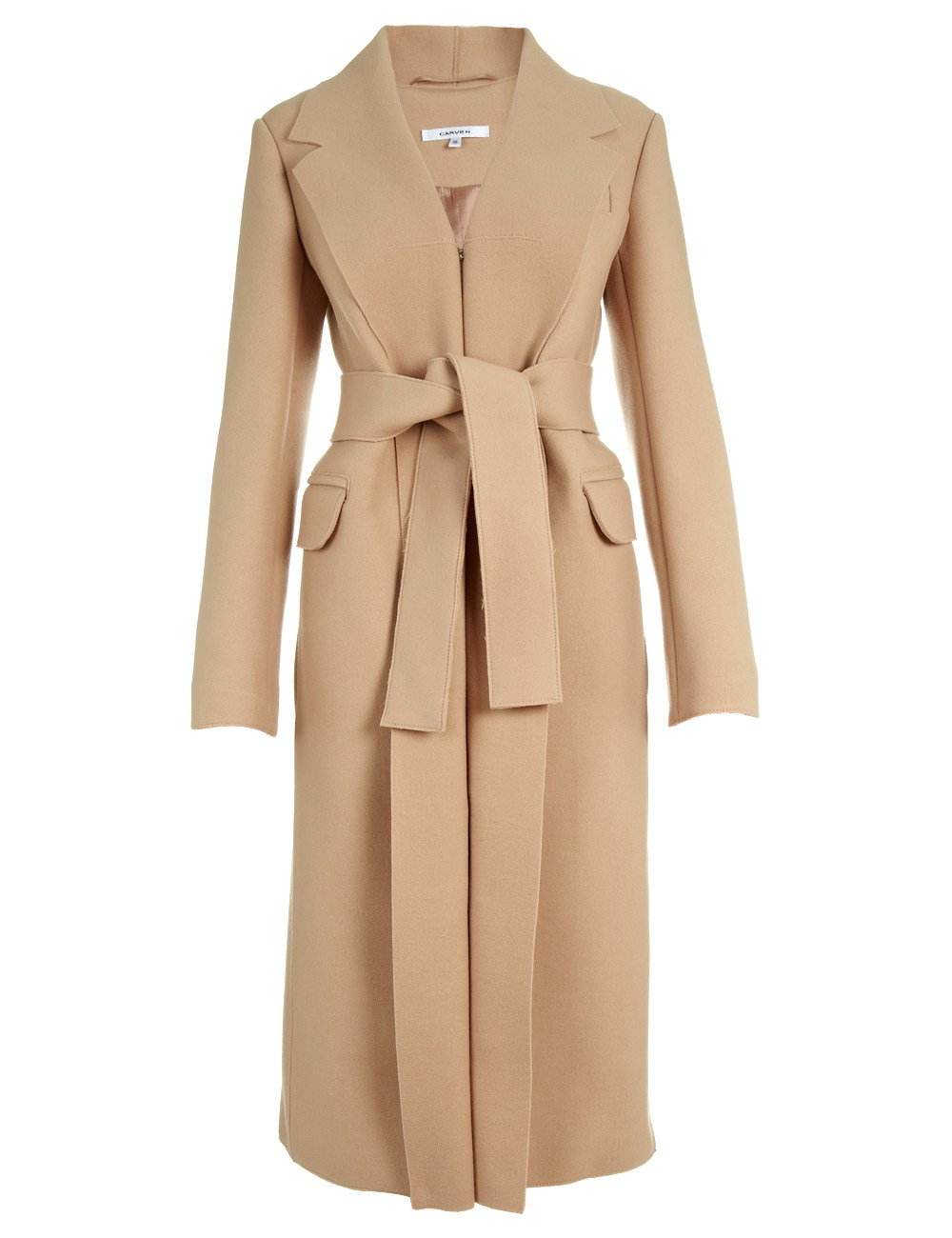 Carven Camel Wool Coat in Brown | Lyst