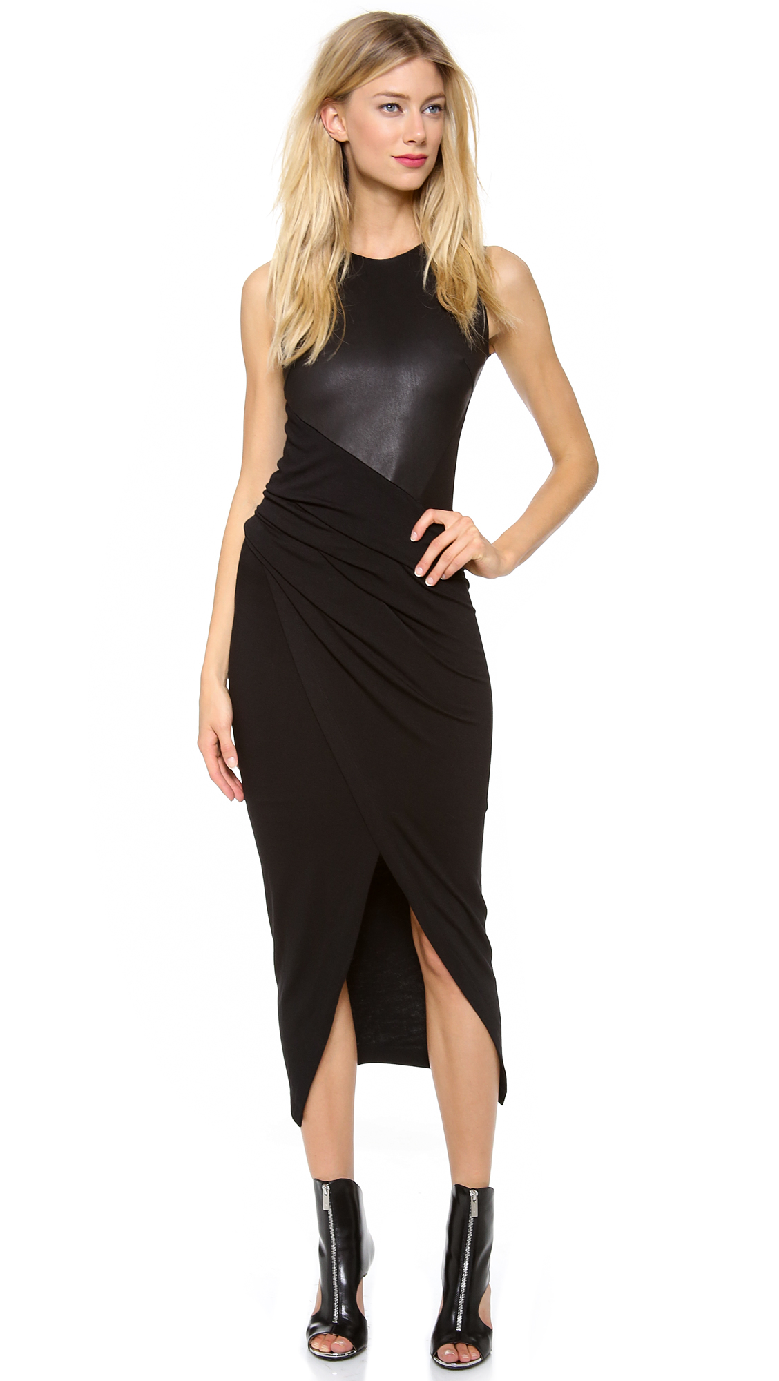 Donna Karan Jersey Dress With Leather Bodice In Black Lyst
