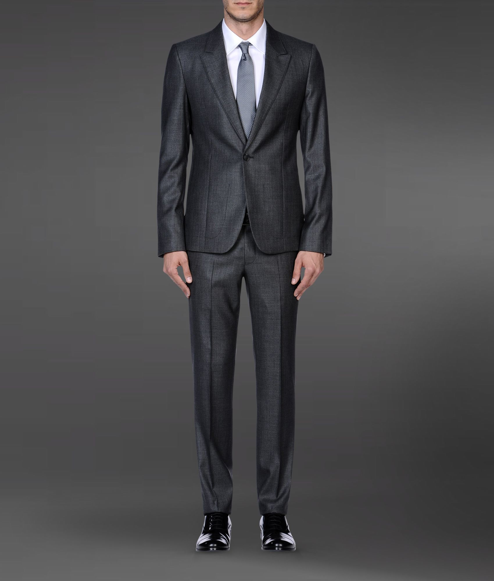 ba980c68a8 Emporio Armani Gray Supreme Suit in Stretch Wool and Silk for men