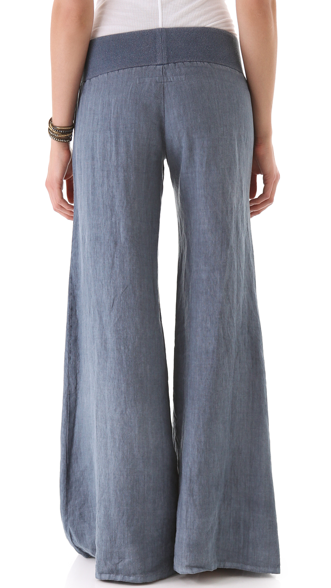 Enza costa Linen Wide Leg Pants White in Blue | Lyst