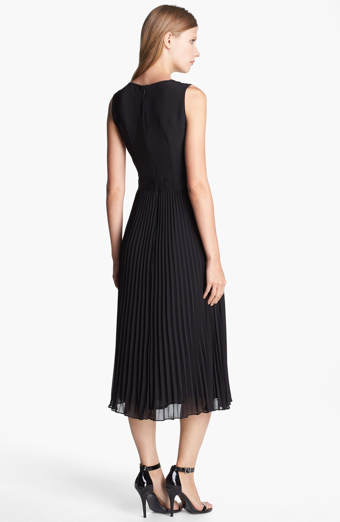 French connection Autumn Lace Trim Pleat Midi Dress in ...