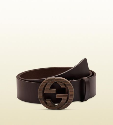 gucci brown leather belt with interlocking g buckle in