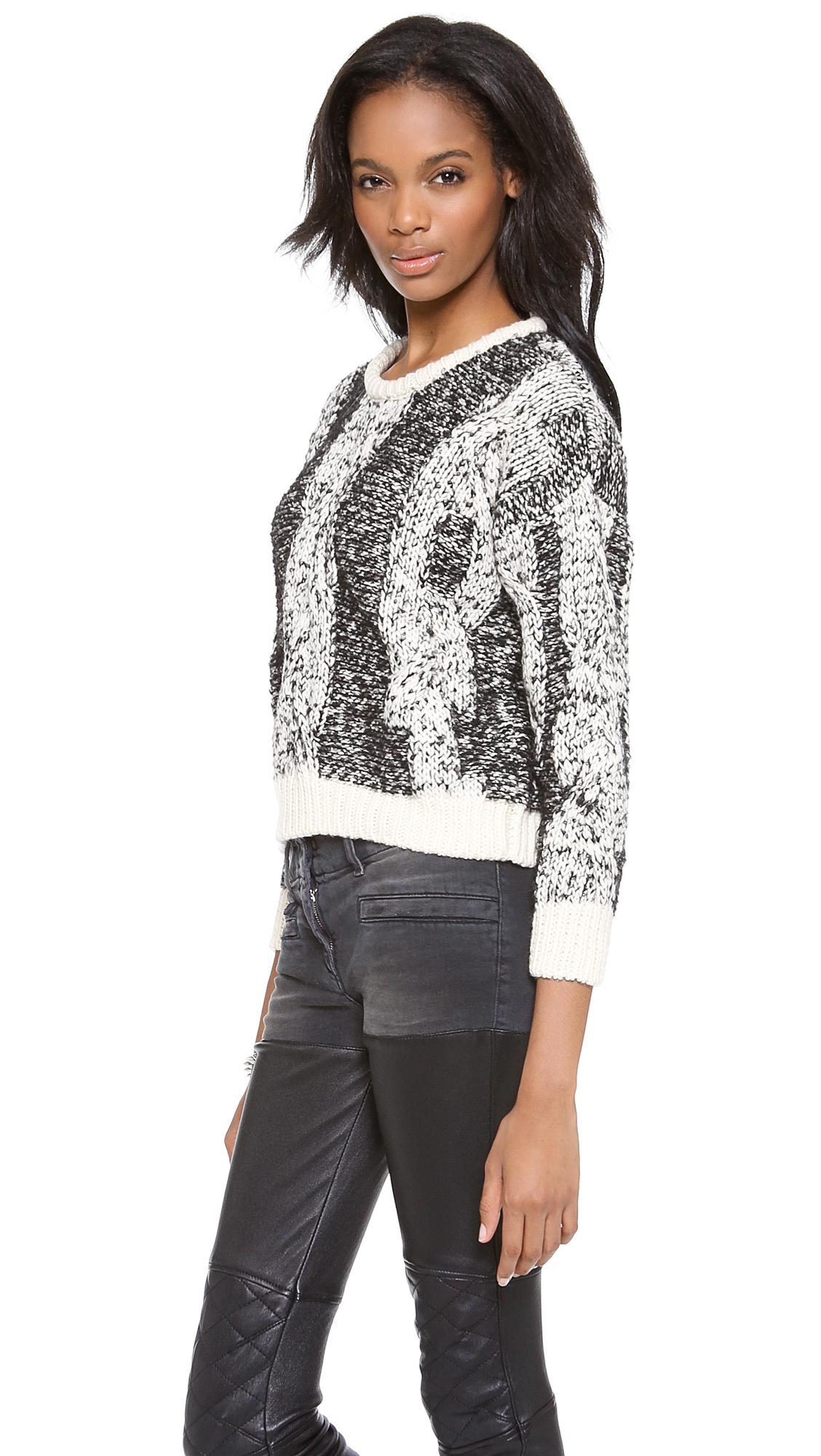 Iro Dorita Cabled Crop Sweater In Black Lyst