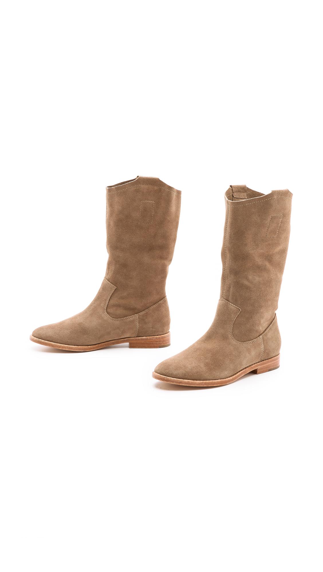 Joie Ogden Flat Suede Boots in Brown - Lyst
