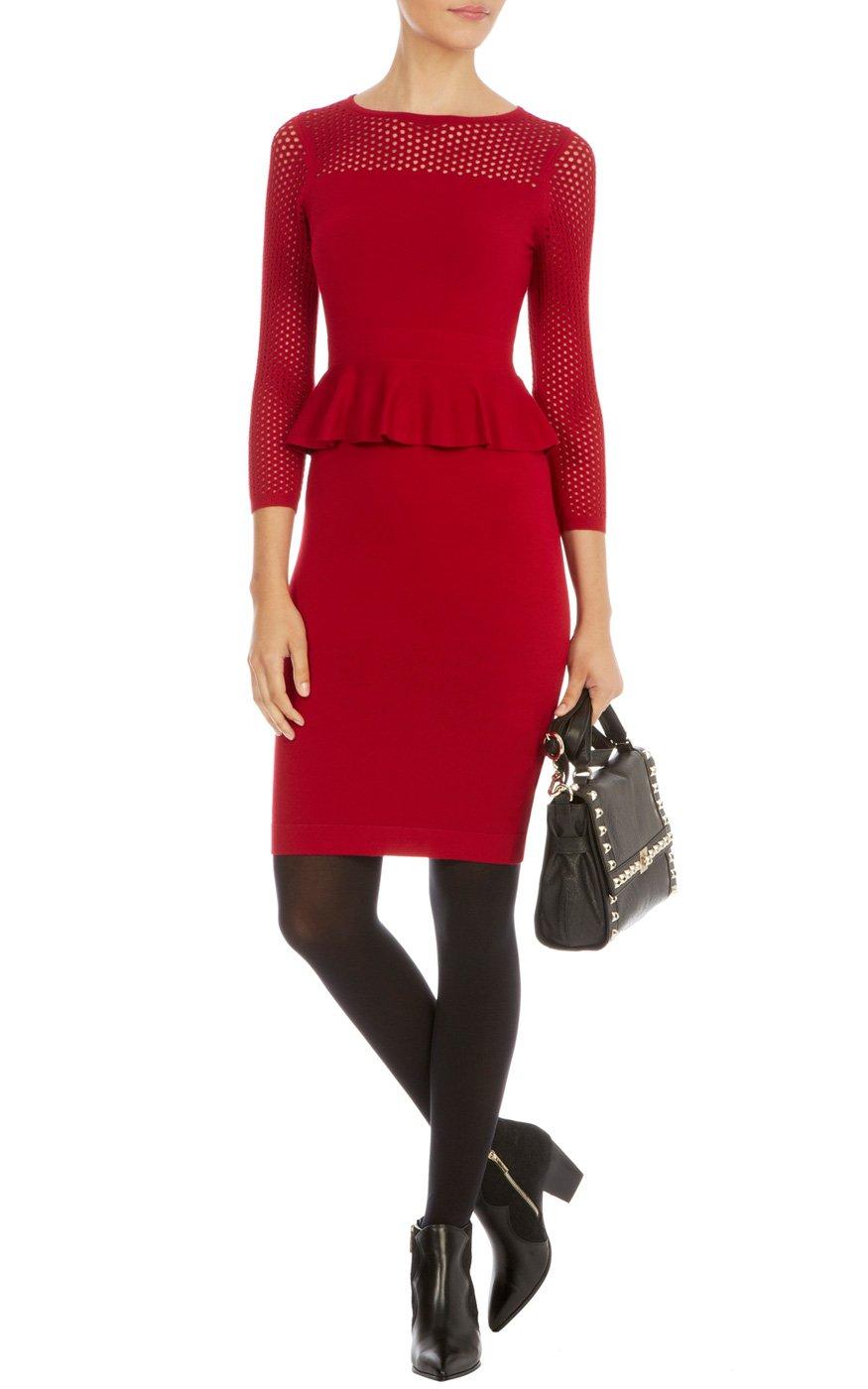 Lyst Karen Millen Peplum Mesh Knit Dress In Red