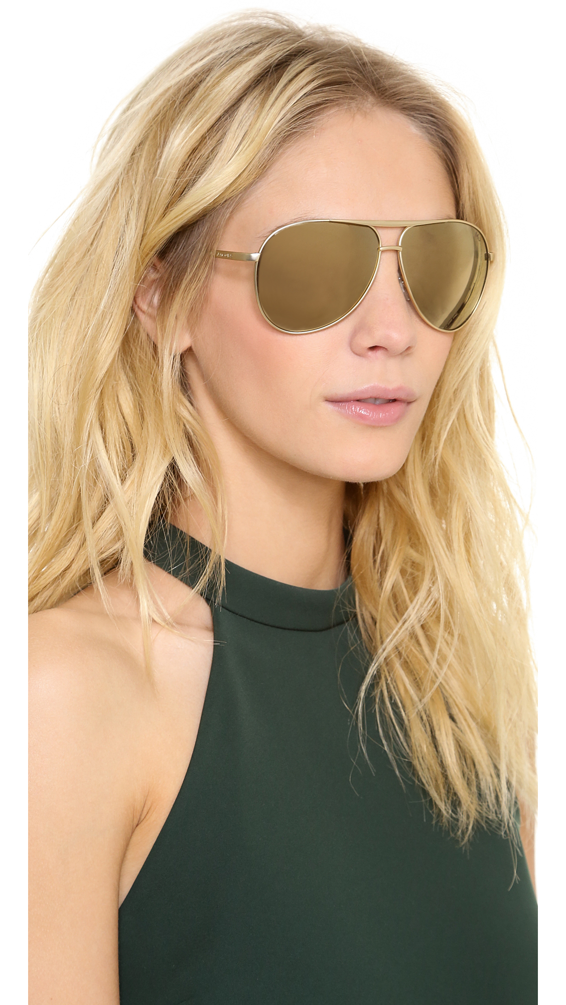 Marc Jacobs Oversized Aviator Sunglasses  marc jacobs mirrored aviator sunglasses in metallic lyst