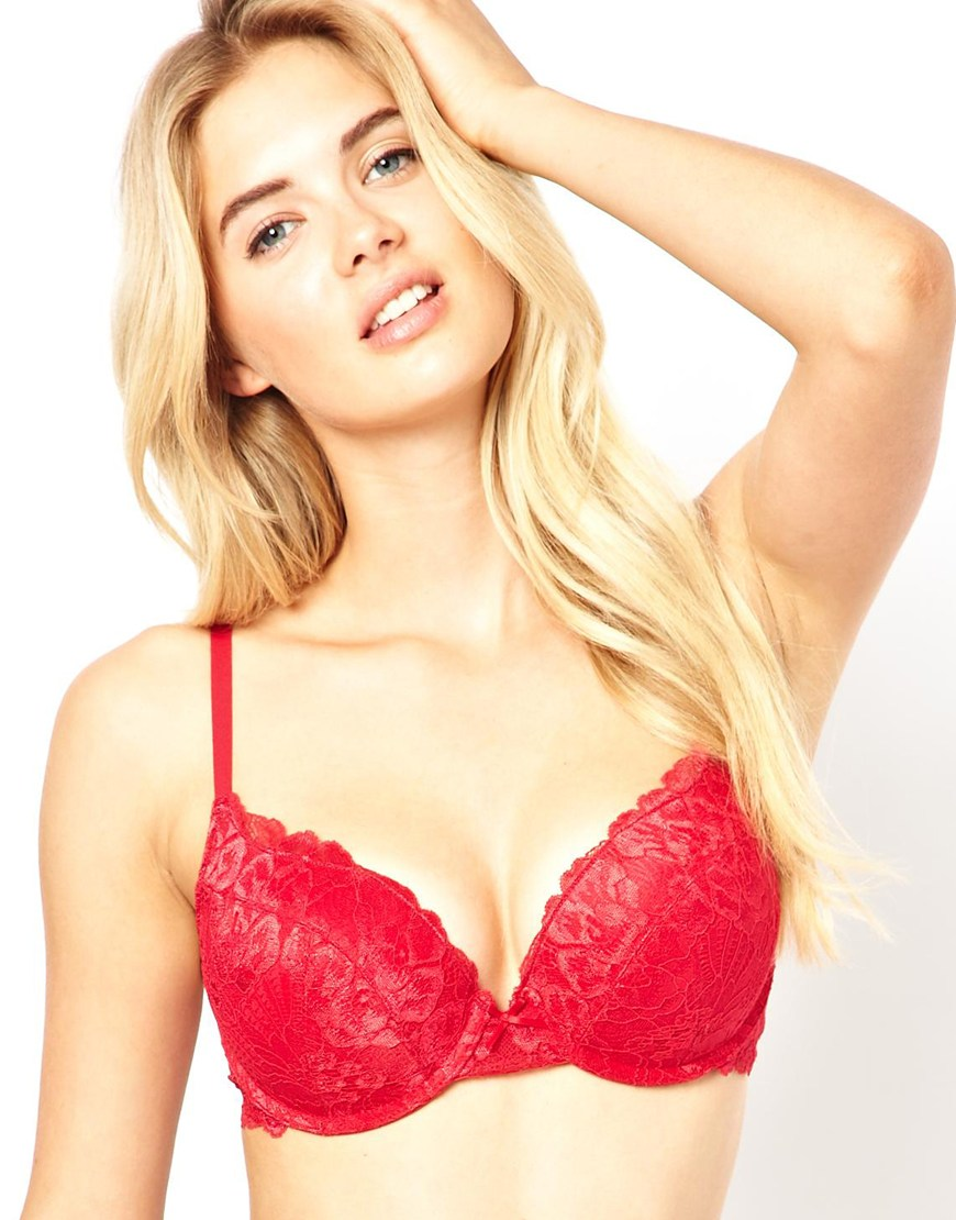 6066d7a215e Marie Meili Wilma Lace Super Push Up Bra in Red - Lyst