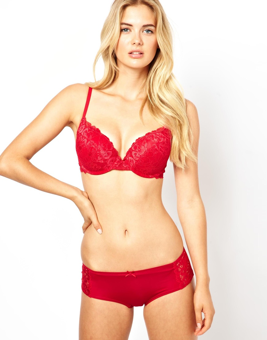 68589c59134 Marie Meili Wilma Lace Super Push Up Bra in Red - Lyst