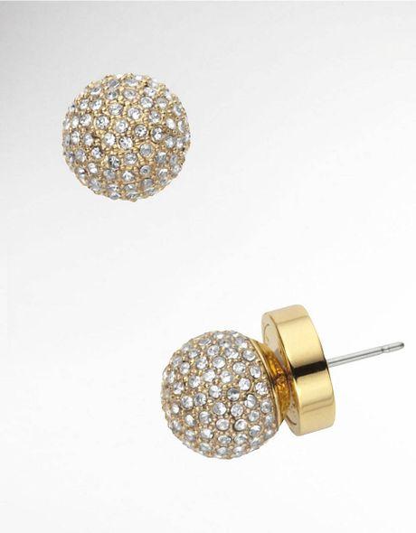 michael kors pave fireball stud earrings in golden