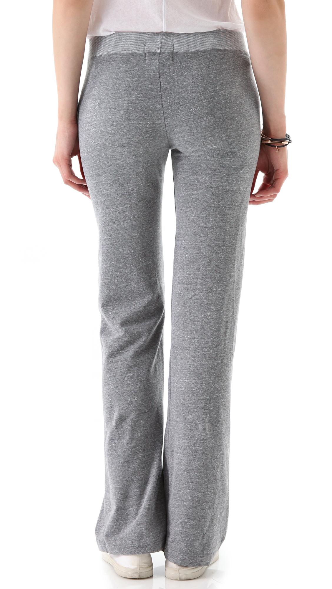 Monrow Fleece Yoga Pants in Gray | Lyst