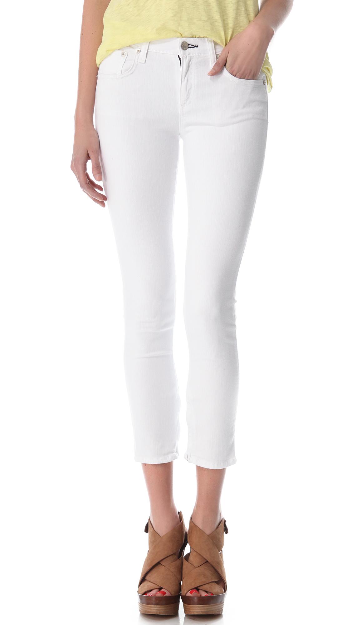 Rag & bone Zipper Capri Skinny Jeans in White | Lyst