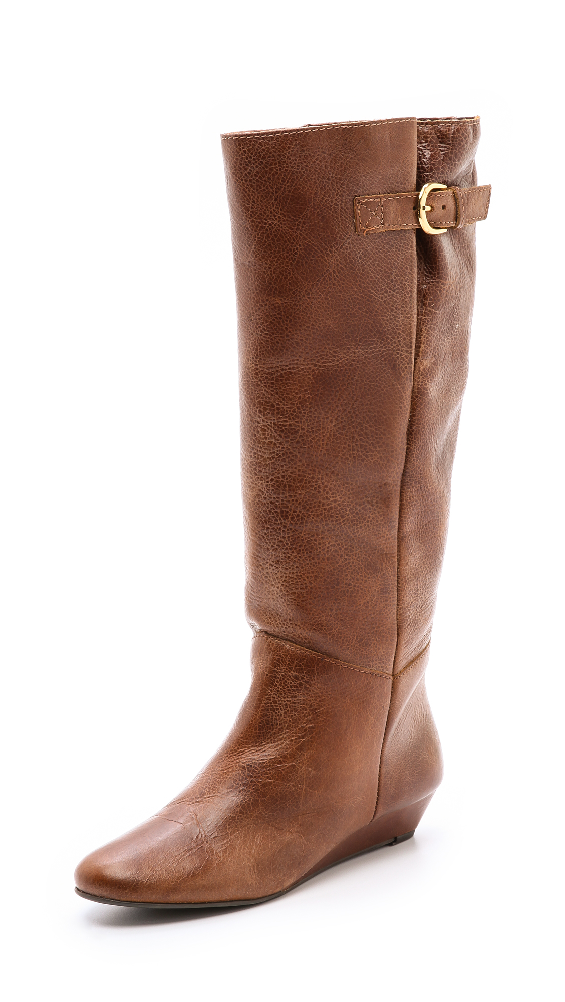 steven by steve madden intyce wedge boots in brown lyst