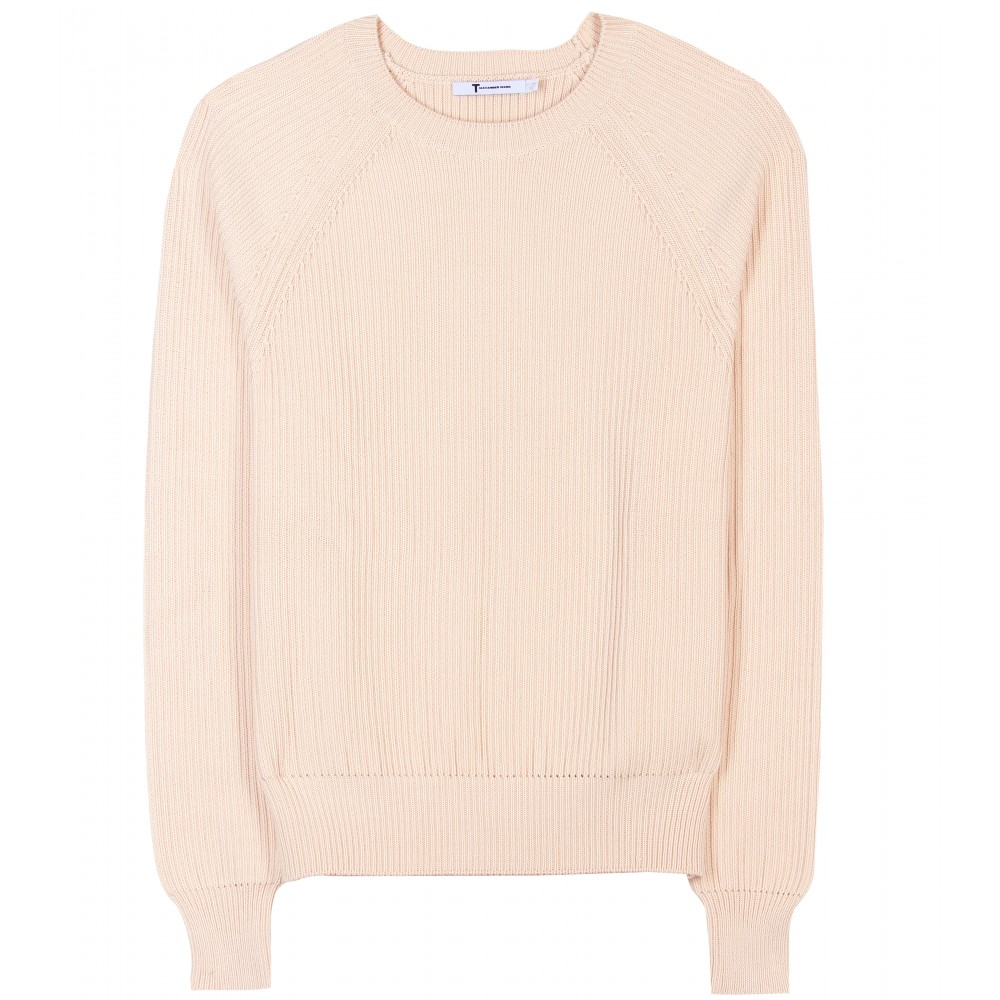 T by alexander wang Ribbed Cotton-blend Sweater in Pink | Lyst