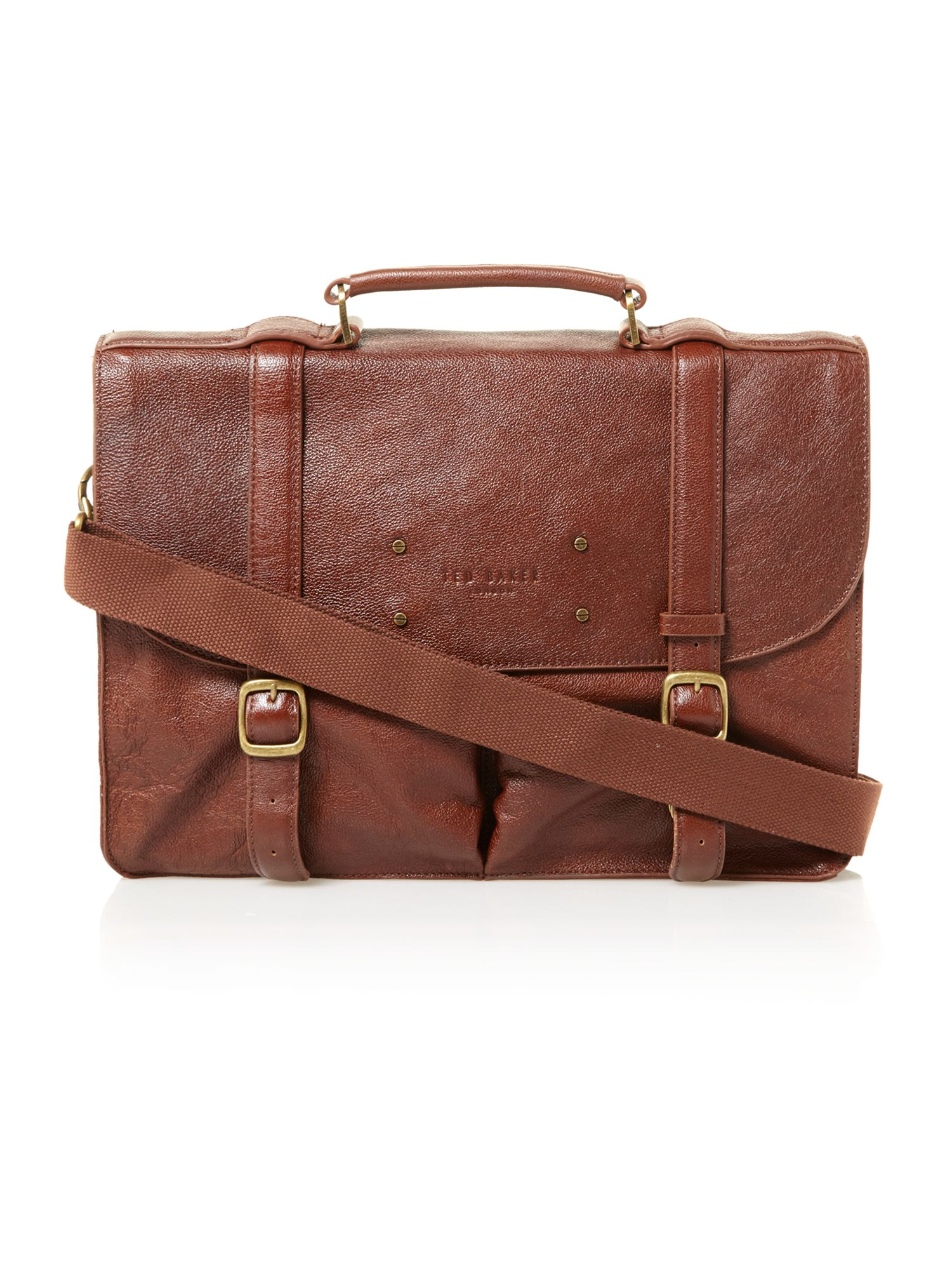 Ted Baker Grained Leather Briefcase In Brown For Men Tan