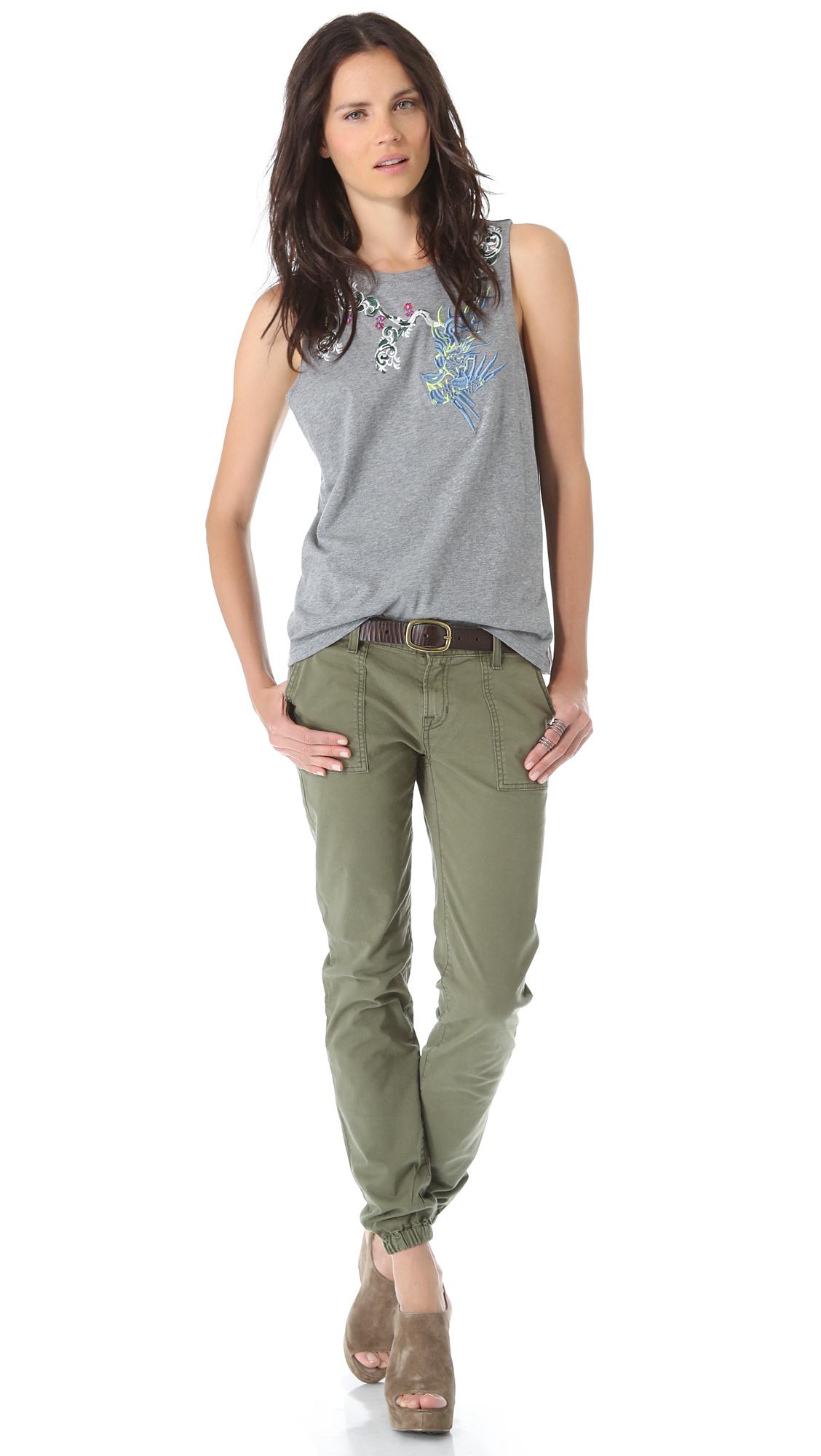lyst textile elizabeth and james oliver pants in green. Black Bedroom Furniture Sets. Home Design Ideas
