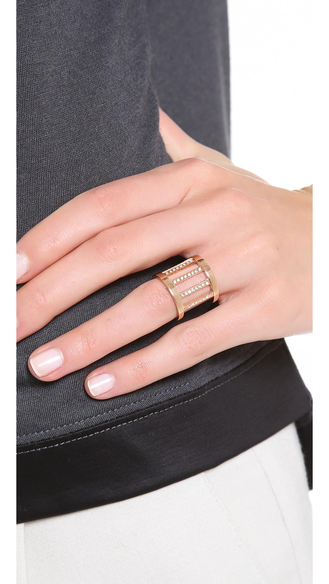 Vita Fede Pandora Crystal Ring In Metallic Lyst