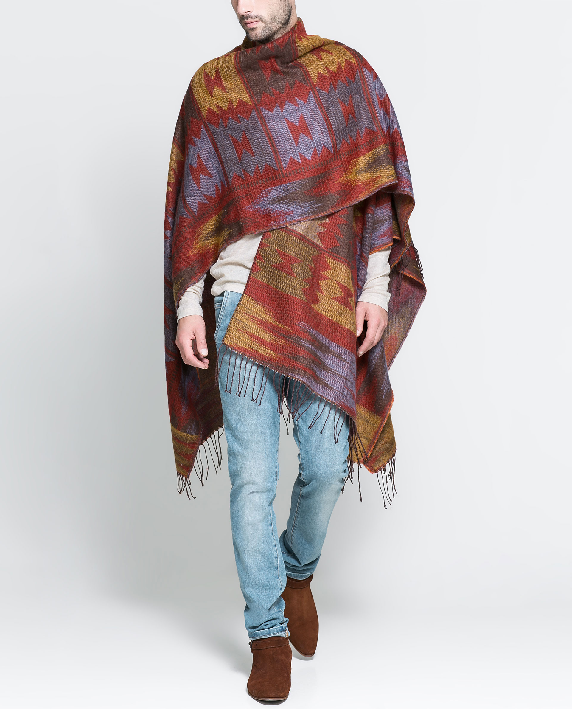 Zara Ethnic Poncho In Brown For Men Lyst