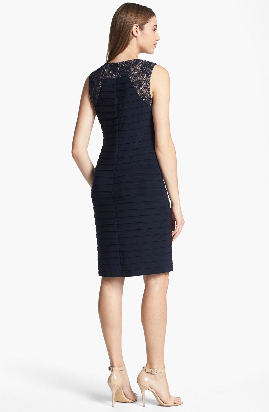Adrianna Papell Blue Lace Yoke Shutter Pleat Sheath Dress