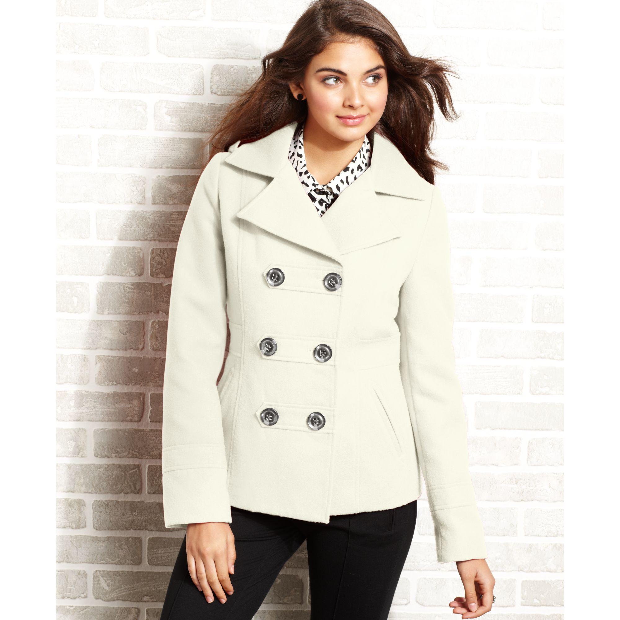 American rag Hooded Pea Coat in White | Lyst