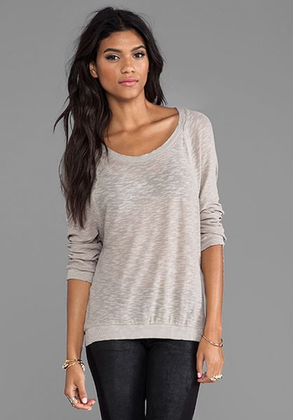 american vintage bakersfield sleeve t shirt in taupe
