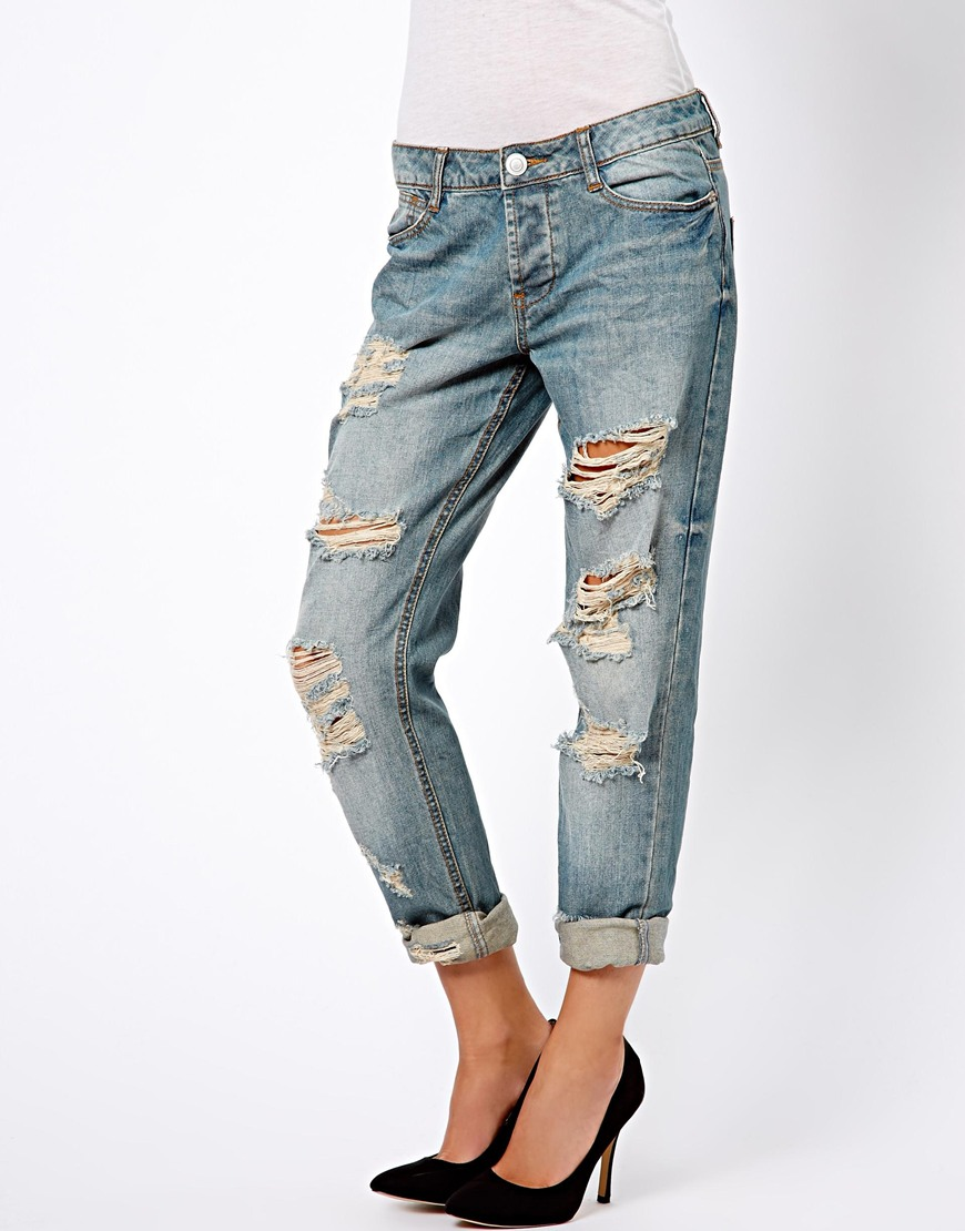 Asos Brady Slim Boyfriend Jean in Vintage Wash with Extreme Rips ...