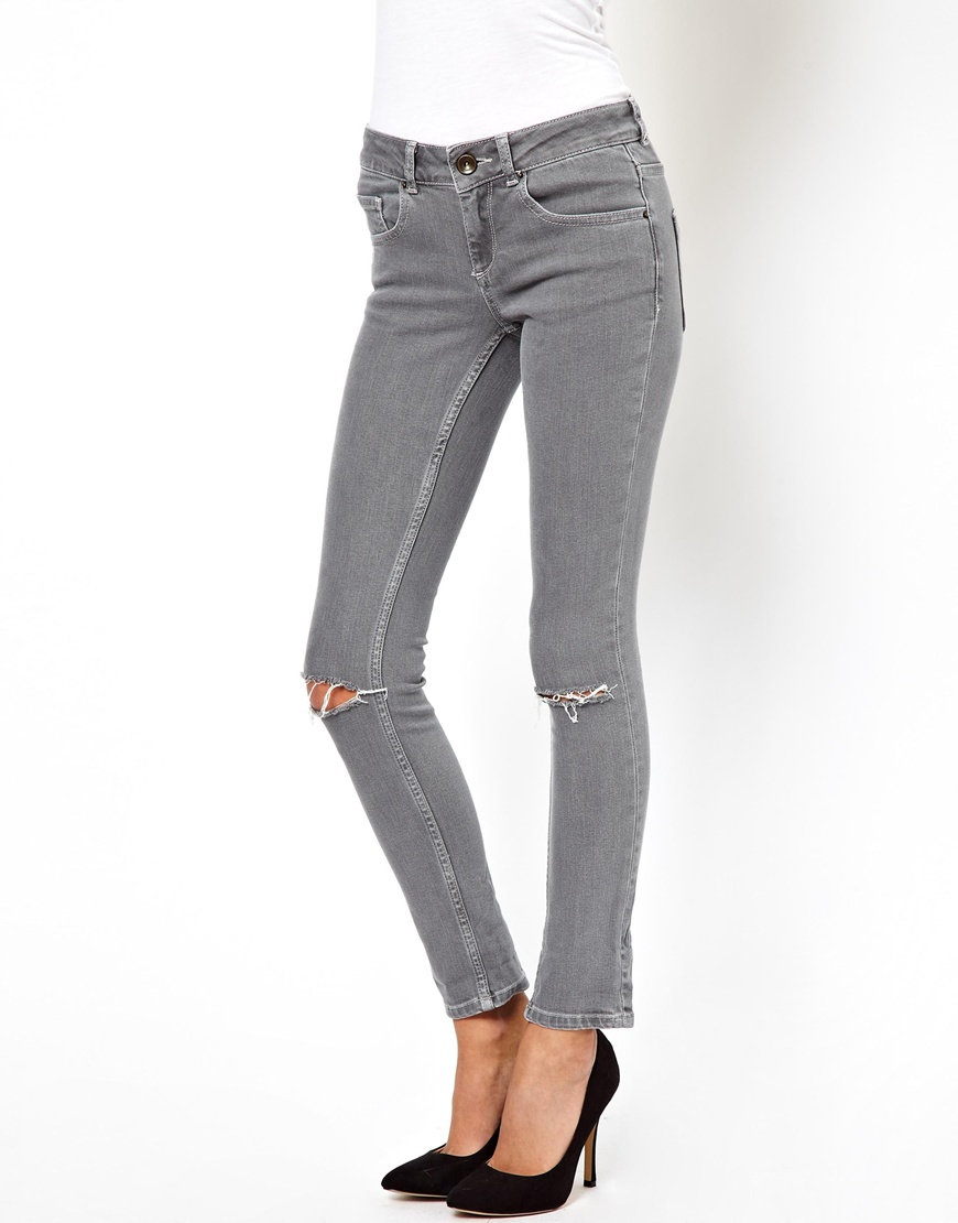 Asos Skinny Jeans in Washed Grey with Ripped Knees in Gray | Lyst