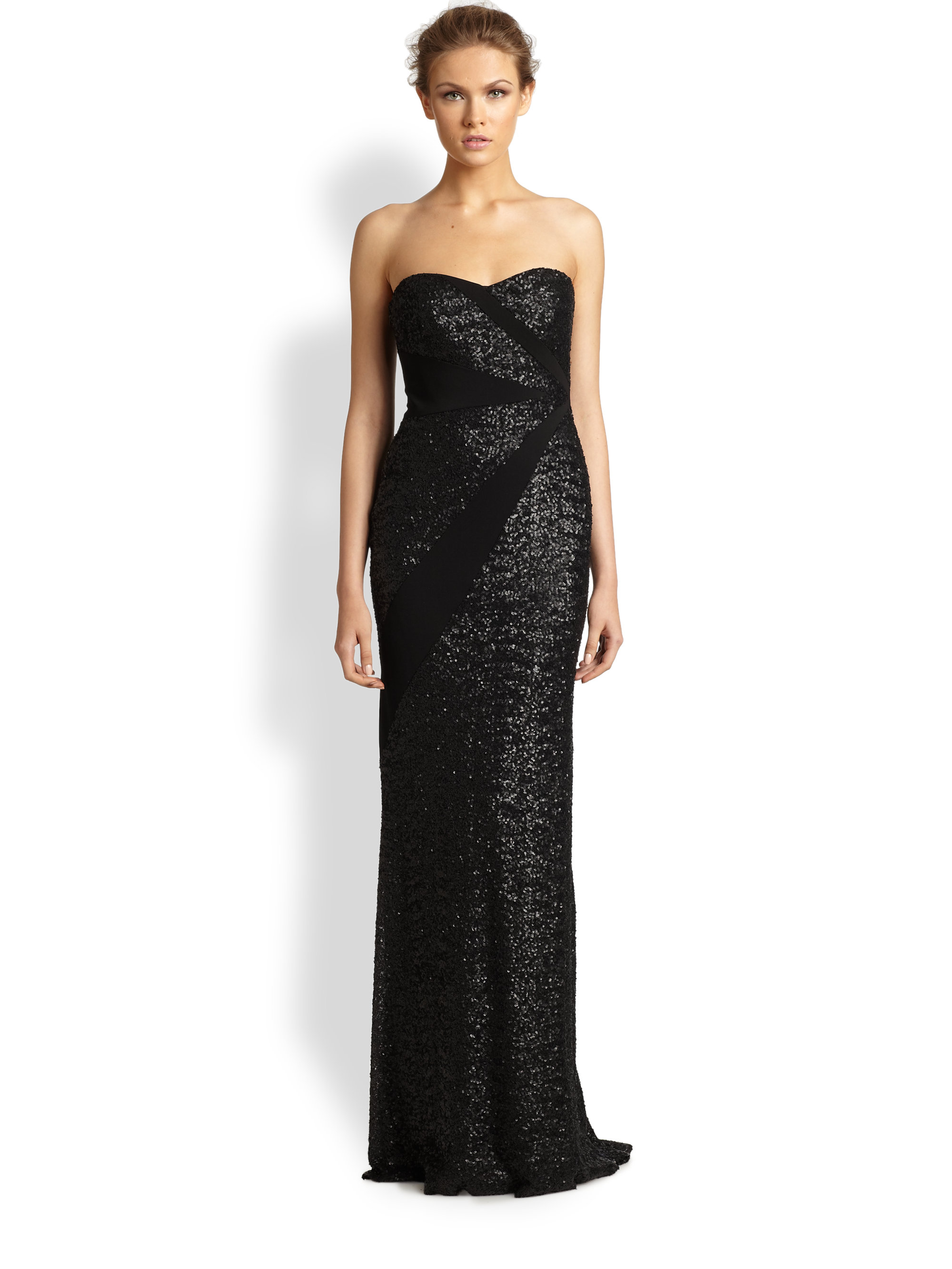 Badgley mischka sequined gown in black lyst for Badgley mischka store nyc