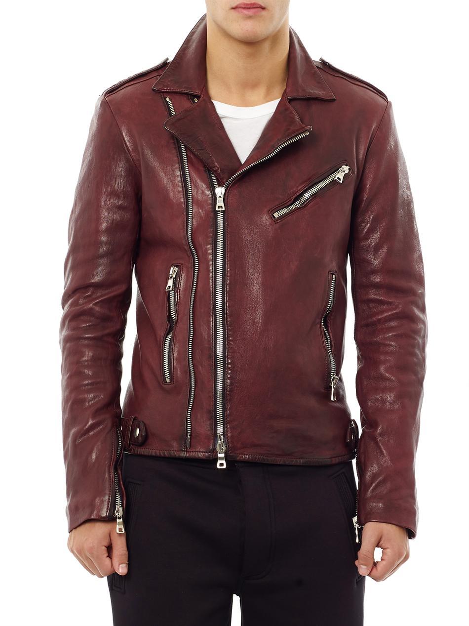 Lyst balmain distressed leather biker jacket in red