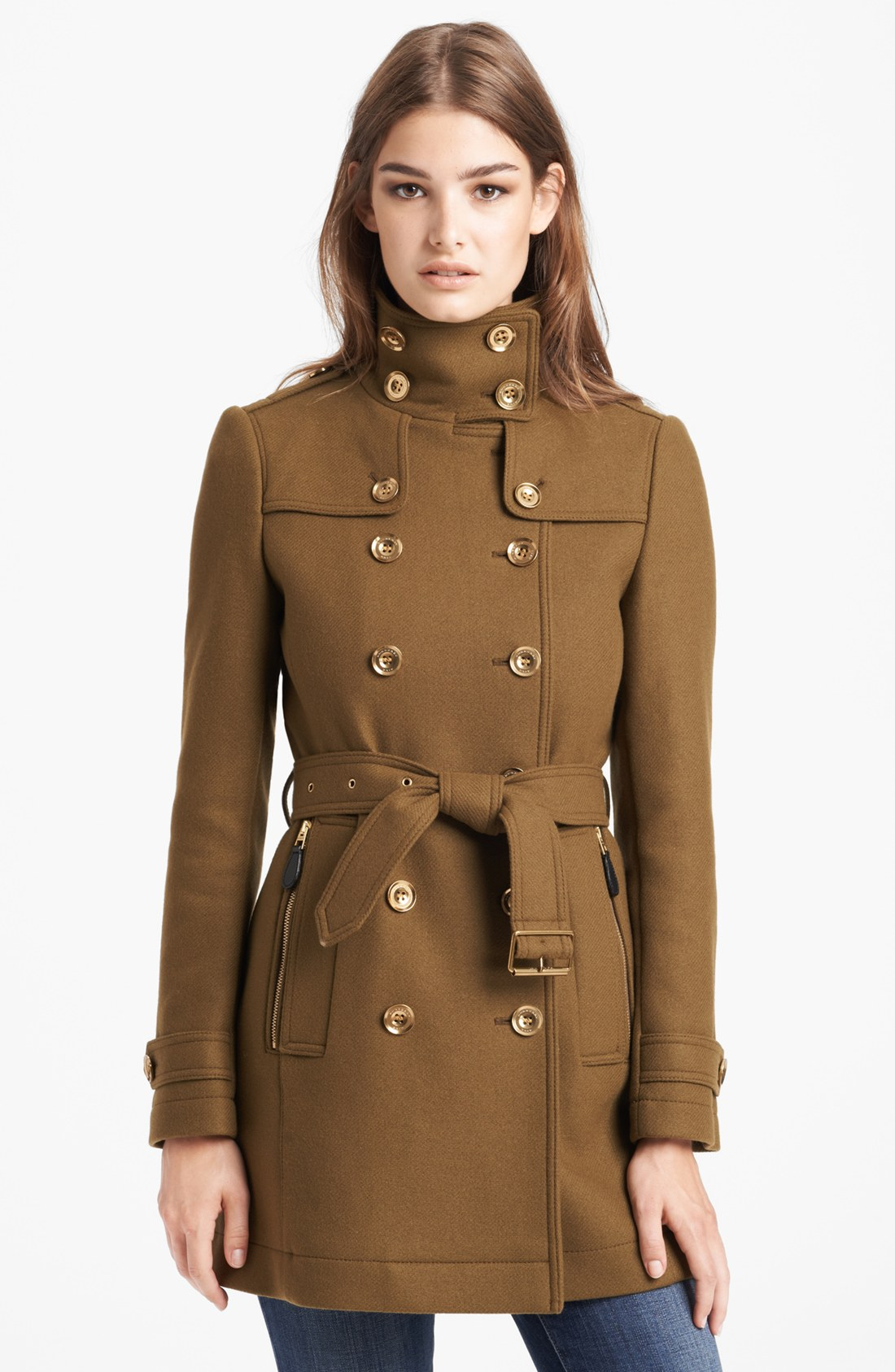 burberry brit daylesmoore wool blend trench coat in green olive brown lyst. Black Bedroom Furniture Sets. Home Design Ideas