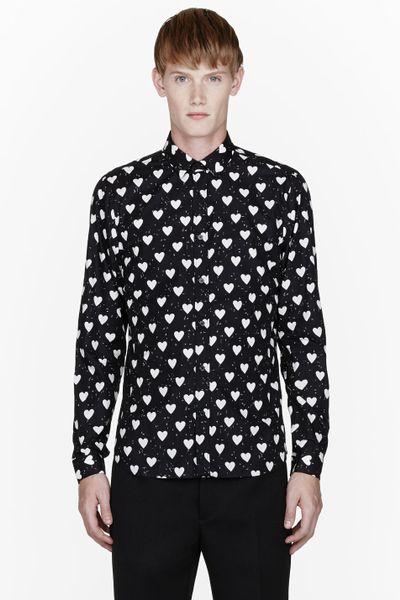 burberry prorsum black heart print shirt in black for men
