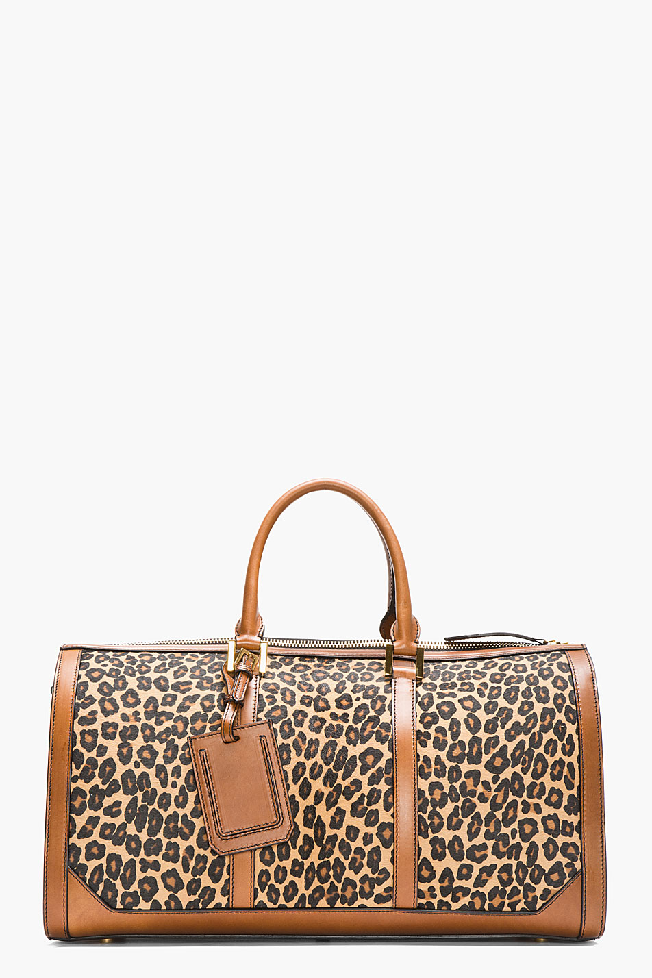 Burberry Prorsum Tan Leopard Print Calf Hair House Check