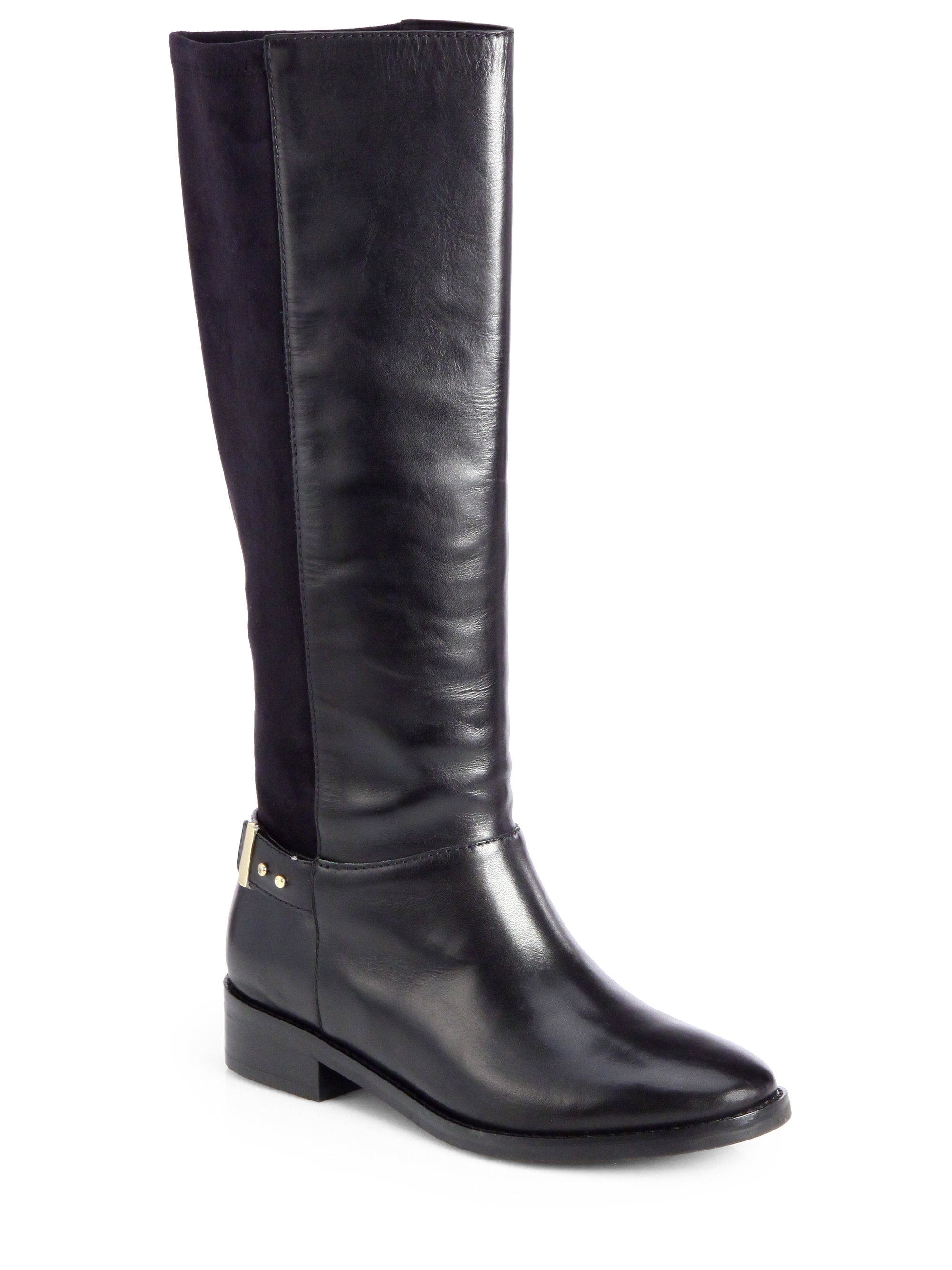 cole haan adler leather suede kneehigh boots in black lyst