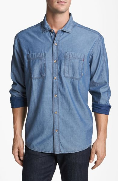 Cutter & Buck Vale Denim Sport Shirt in Blue for Men (Age) - Lyst