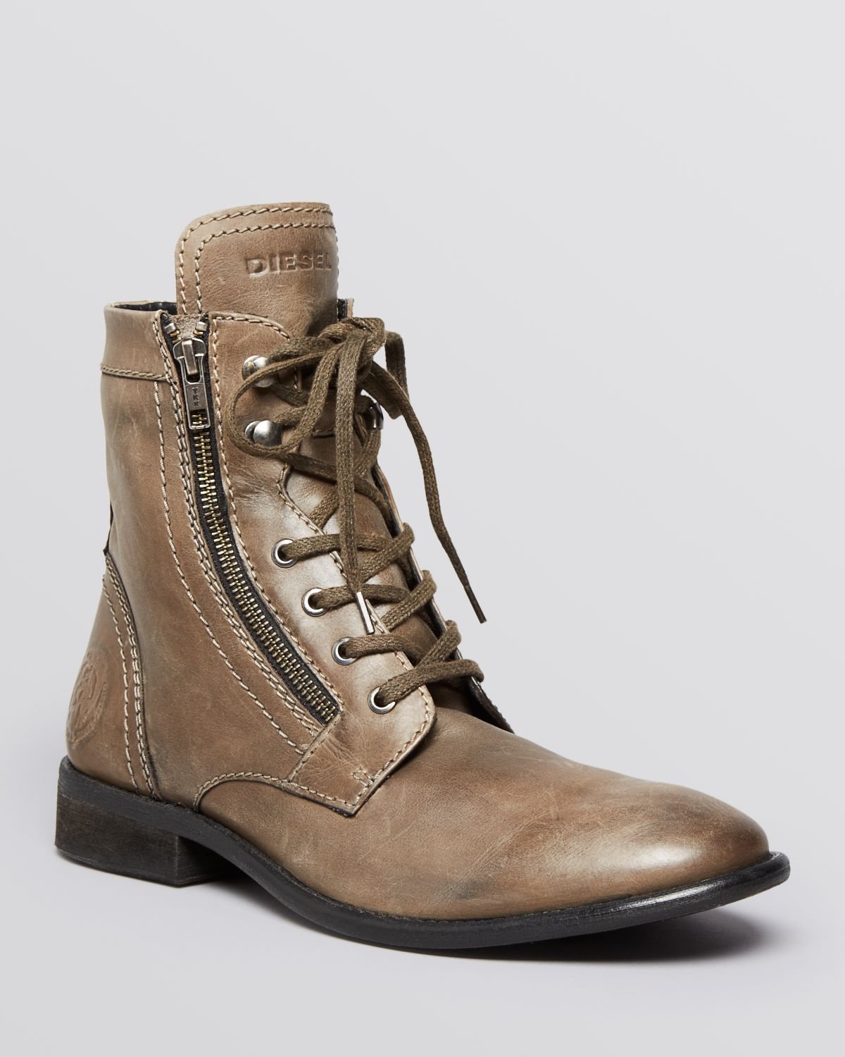 05f39dfd0e3 DIESEL Brown Themil Military Boots for men